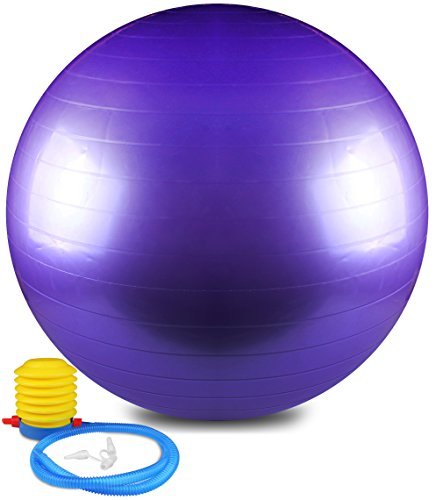 Anti Burst and Slip Resistant Yoga Ball - Exercise Ball, Fitness Ball, Total Body Balance Ball By Utopia Home (65 CM)