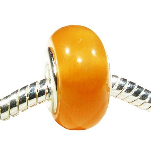 Hidden Gems Cats Eye (192) Silver Plated Double Core Glass Bead, will fit Pandora/Troll/Chamilia Style Charm Bracelet.