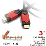 Yellowknife 3FT Premium High Speed GOLD HDMI Cable V1.4 w/Nylon net Mesh 1080p 3D Support / 3 Ft 1 Meter Black Red