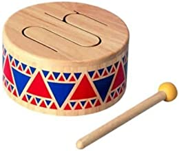 Game  Play Plan Toy Solid Wood Drum Play Instrument Melodic Preschool Handmade Crafts Learning Toy