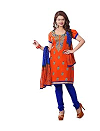 AASRI Party Wear Cotton Embroidered 3 Piece Unstitched Salwar Suit 6015