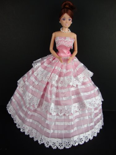 413U72eK3yL Reviews Pink Ball Gown with Lots of White Ribbon Details Made to Fit the Barbie Doll