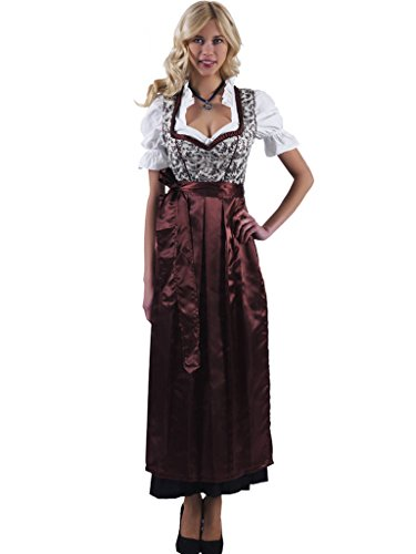 Alpenmärchen 3tlg. Dirndl-Set lang - Trachtenkleid, Bluse, Schürze, Gr. 46, braun - ALM746 thumbnail