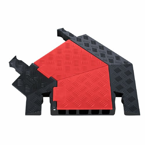 Guard Dog GDT5X125-L-O/B Polyurethane Heavy Duty 5 Channel 45 Degree Left Turn Cable Protector with Dog-Bone Connector, Orange Lid with Black Ramp, 24.5
