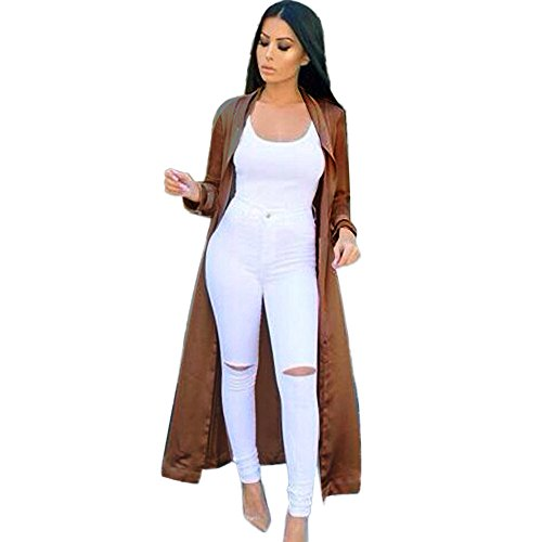 Rumas Women's Sexy Casual Long Sleeve V-neckline Solid Long Coat (XL, coffee) (Sexy Fur Coat)