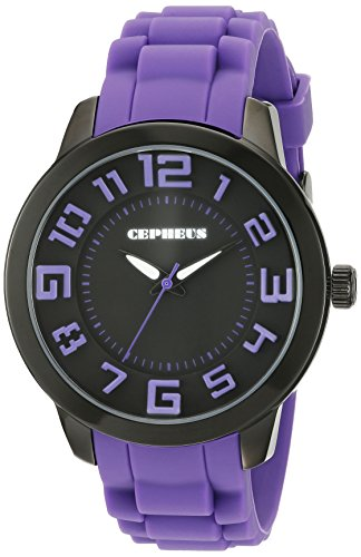 Cepheus Women's Quartz Watch with Black Dial Analogue Display and Purple Silicone Strap CP604-620B