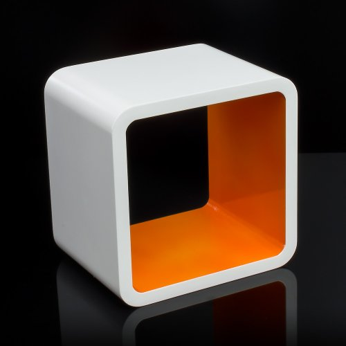 Homestyle4u Cube Wandregal Regal Bücherregal Hängeregal Retro Design weiss Orange