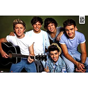 (22x34) One Direction - Horizontal Group with Guitar Music Poster by Poster Revolution