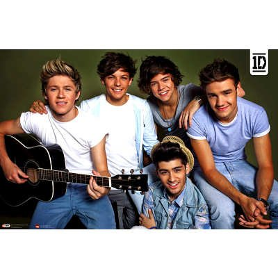 (22x34) One Direction - Horizontal Group with Guitar Music Poster