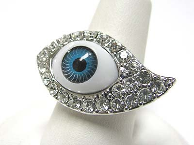 Weird Blue All Seeing Eye Cocktail Fashion Ring with Crystal Accents ~ Adjustable Size ~ Comes Gift Boxed!