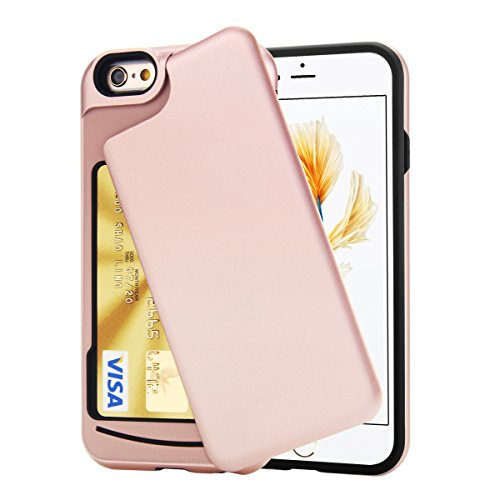 iPhone 6 / 6S Case, Rotatable Slide Door Card Slot Holder Wallet Case TORUBIA Impact Resistant Dual Layer Shockproof Anti Scratch Cover for iPhone 6 or iPhone 6S (4.7 inch) - Rose Gold (Iphone 3 Full Housing compare prices)