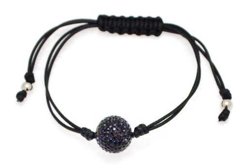 Black Cotton Knotted Bangle Type Adjustable Bracelet with Jet Crystal Bead