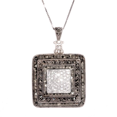 Sterling Silver Marcasite and Cubic Zirconia Square Pendant Necklace, 18
