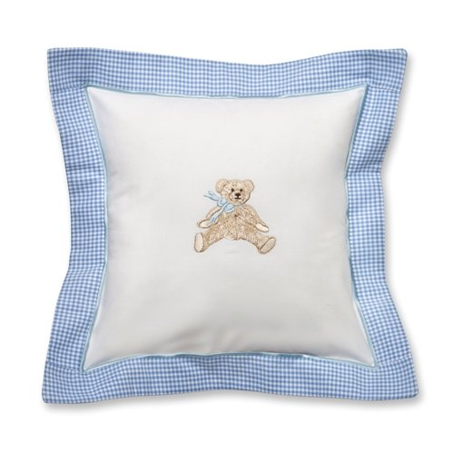 Jacaranda Living Baby Pillow, Blue Bow Teddy