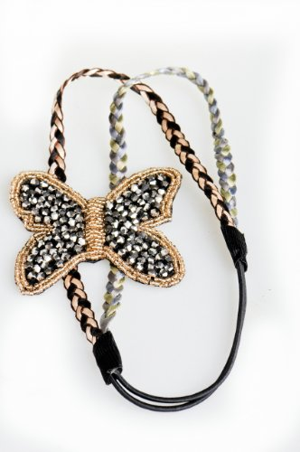 Jupiter Black Butterfly Crystals Fashion Headband with Elastic Strap