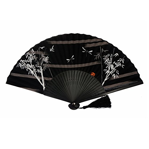 DawningView Japanese Handheld Fan, Bamboo and Dragonflies HF204 (Black)