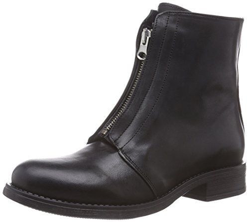 PIECES Psiza Leather Hidden Zipper Boot Blk, Stivaletti classici non imbottiti, corti donna, Nero (Nero (nero)), 36