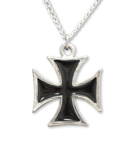 Maltese Cross Black Enamel Paint on Polished Silver Pewter Large Pendant Necklace