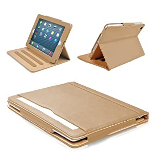 MOFRED® Brown & Tan Apple iPad Air (2013-2014 Version) Leather Case-MOFRED®- Executive Multi Function Leather Standby Case for Apple New iPad Air with Built-in magnet for Sleep & Awake Feature