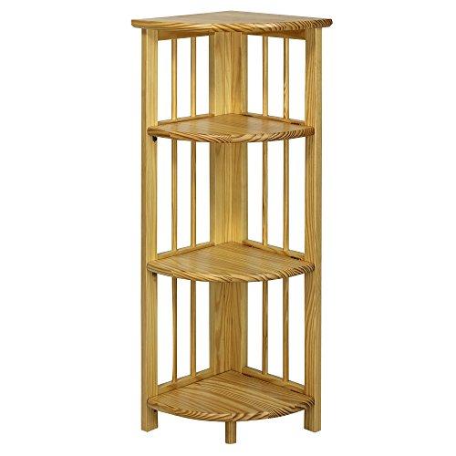 Corner Bookcase 4 Shelf Foldable Made 100 Percent Solid
