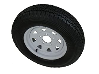 175/80D13 LRC 6 PR Vail Sport Bias Trailer Tire on 13″ 5 Lug White Spoke Steel Trailer Wheel