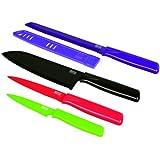 KUHN RIKON 23968 Messer Colori 1 Messer-Set 5-teilig Box Gemüsemesser 19,5 cm/Küchenmesser Wellenschliff 24 cm/Kochmesser 29 cm/Brotmesser 30cm m. Klingenschutz
