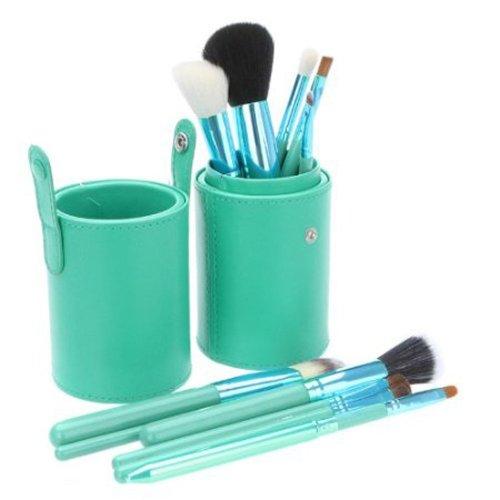 化粧ブラシセット メイクブラシセット ファンデーションブラシ、ブルー の可愛い専用収納ケース付き 12本セット