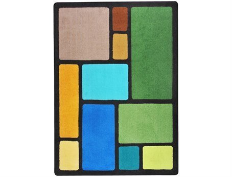 "Joy Carpets Kid Essentials Early Childhood Our Block Rug, Earthtone, 7'8"" x 10'9"""