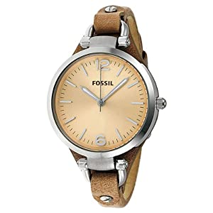 Fossil Women's Georgia Sand Leather Strap Three Hand Watch