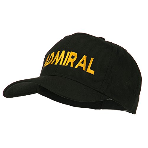 Admiral Embroidered Cotton Twill Cap - Black OSFM (Admiral Cap compare prices)