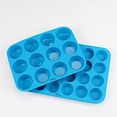 KPKitchen Muffin & Cupcake Silicone Baking Pan Set (12 & 24 Mini Cup Sizes) - BPA Free & Non Stick Dishwasher Safe Bakeware Trays - Free Cupcakes & Muffins Recipes eBook