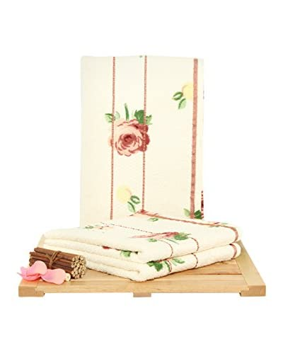 Maisonette Ceylin 3-Piece Hand Towel Set, Coral