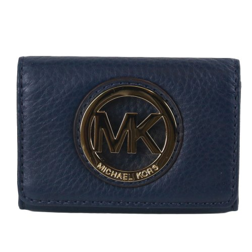 MICHAEL Michael KorsMICHAEL Michael Kors Fulton MK Logo Leather Credit Card Case Navy