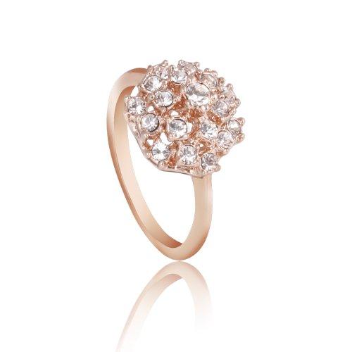 Fashion Plaza Flower Ring Use Swarovski Element Multi-crystal Engagement Wedding Spark Ring R40