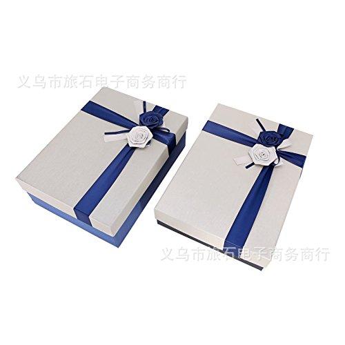 Grande maglia rettangolare confezione regalo cosmetici box scatola da scarpe Decorazione rose regalo aziendale ,33*25*11.5cm, blu