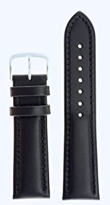 Men's Genuine Italian Leather Watchband - Chronograph Style - Color Black Size: 18mm Watch Strap