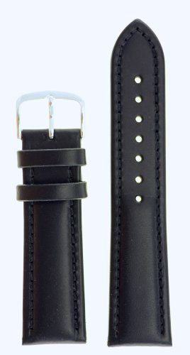 Mens Genuine Italian Leather Watchband Chronograph Style Black 18mm Watch Band - by JP Leatherworks