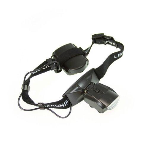 2 LED Head Headband Illuminating Magnifier Magnifying Eye Glass Black