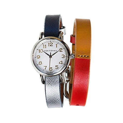 tokyobay-t610sd-rd-nv-womens-stainless-steel-red-navy-leather-band-white-dial-smart-watch