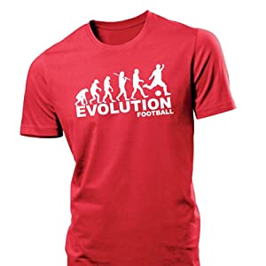 iClobber Football Evolution Men's T Shirt funny tshirt soccer ball man utd liverpool city - Medium - Red