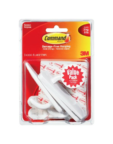 17003-VP-3PK Command Adhesive Large Hooks Value Pack