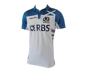 MACRON Scotland 2013/2014 Away Men's Replica Pro Body Fit Rugby Jersey, White/Blue, XL