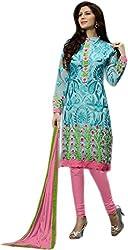 Begum Riwaaz Women's Georgette Unstitched Dress Material(1006, Pink)