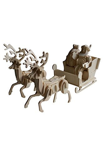 Christmas Craft Kit with Wooden Santa and Sleigh pulled by Reindeer, Perfect Gift for Xmas