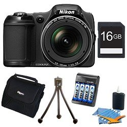 Nikon COOLPIX L820 16 MP Digital Camera with 30x Zoom (Black) Super Bundle Includes 16GB Memory Card, AA Rapid Multivoltage AC/DC Charger w/ 4 3100mah AA Batteries, Flexible Mini Table-top Tripod, Compact Deluxe Gadget Bag, and Lens Cleaning Kit.