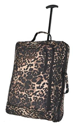 Set of 2 & 1 Piece Cities® Lightweight Hand Luggage Travel Holdall Baggage Wheely Suitcase Cabin Approved Bag Ryanair Easyjet and Many More - 1.65kg - 42 Litres (1 Piece, leopard 865)