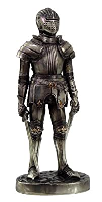 """Medieval Knight 7"""" Tall Sword Master Statue Figurine Suit Of Armor"""