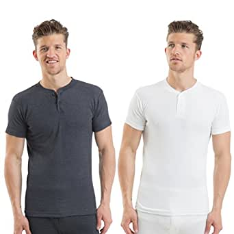 Mens Thermal Underwear Grand Dad Short Sleeve Vest White Large