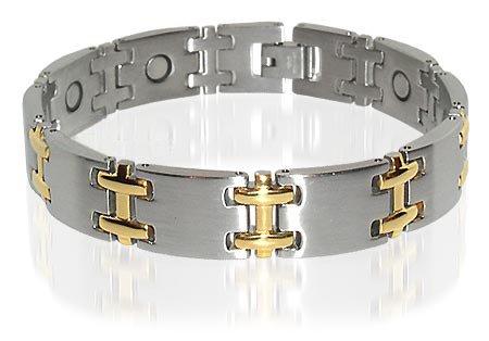 Magnificient Two Tone Titanium Magnetic Bracelet 8 Inch