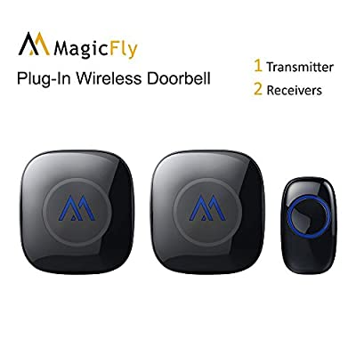 Magicfly Portable Wireless Doorbell Chime Kit 1000-feet Range 52 Melodies, No Batteries Required for Receiver(1 Push Remote Button+2 Door Chime) Black